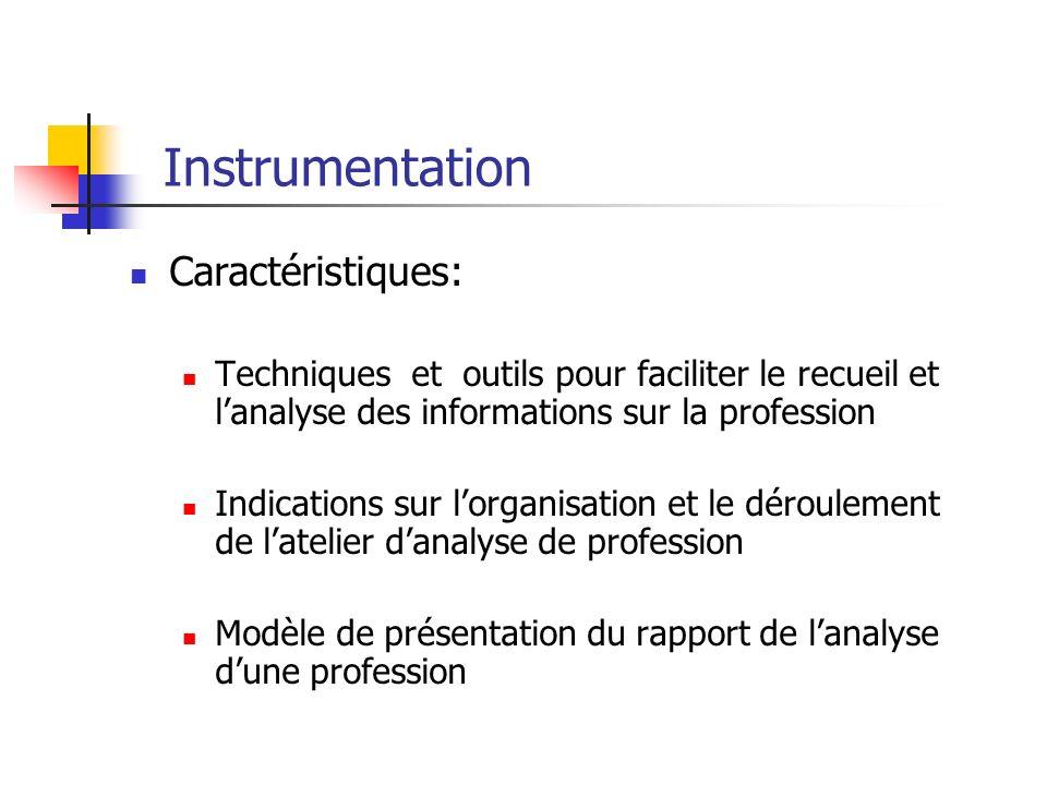 Instrumentation Caractéristiques: