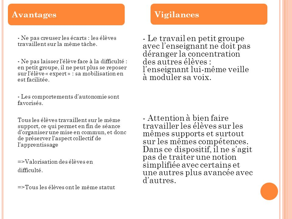 Avantages Vigilances.