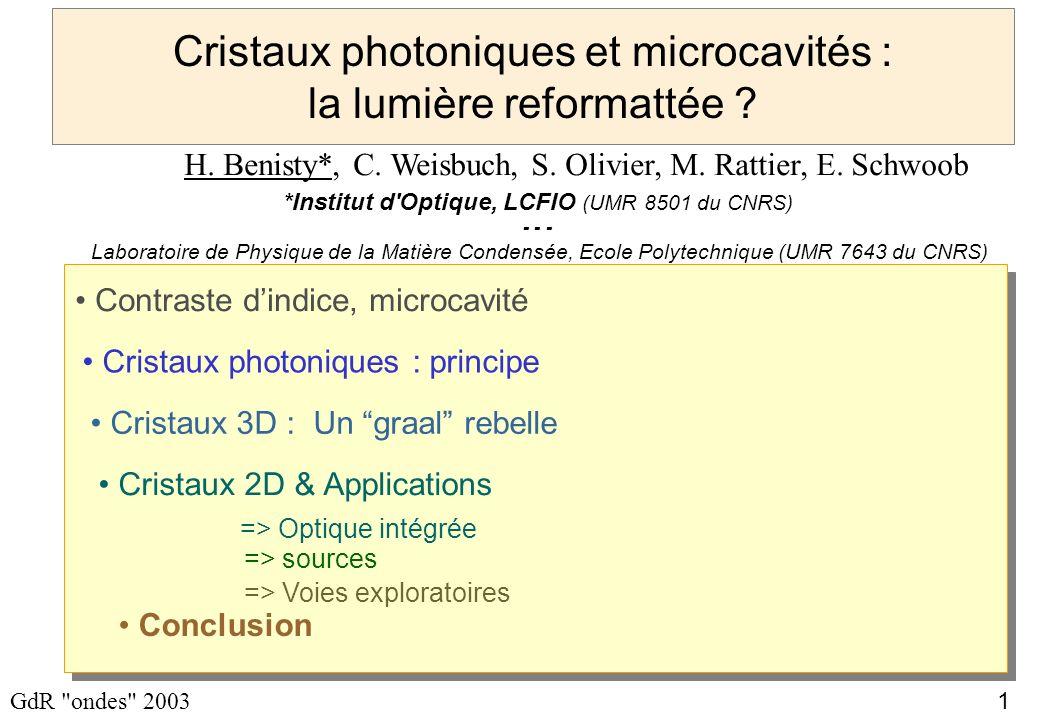 Cristaux photoniques et microcavités : la lumière reformattée