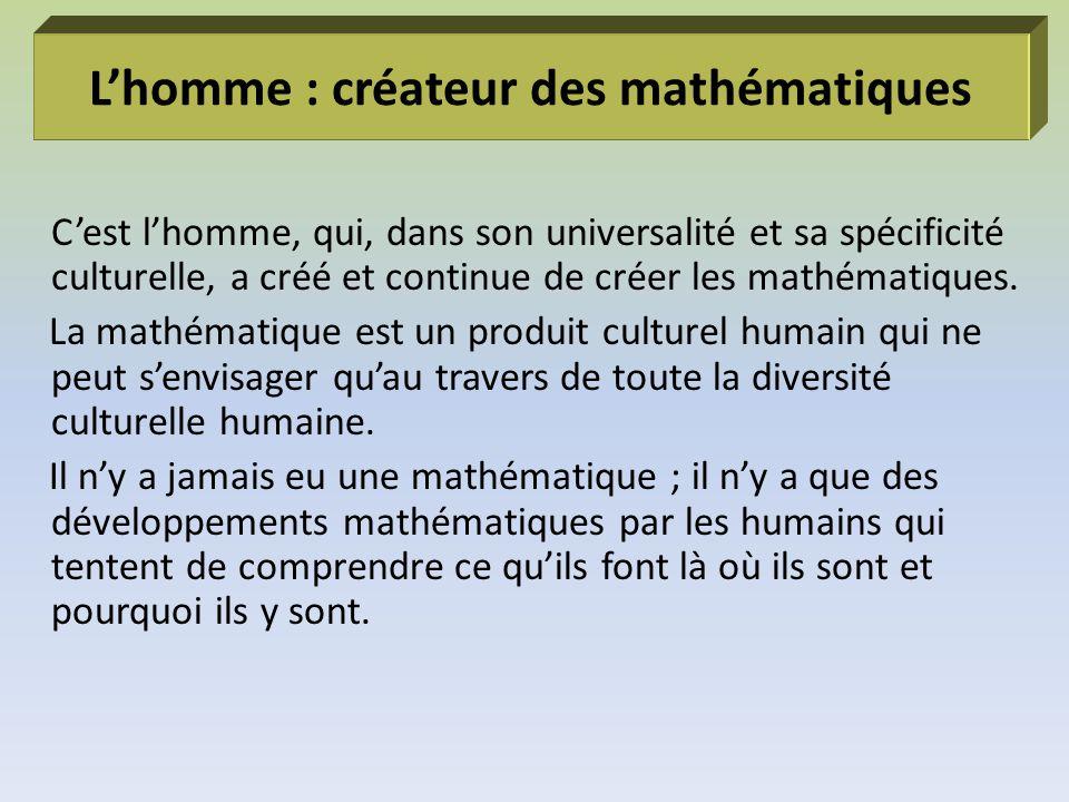 L'homme : créateur des mathématiques