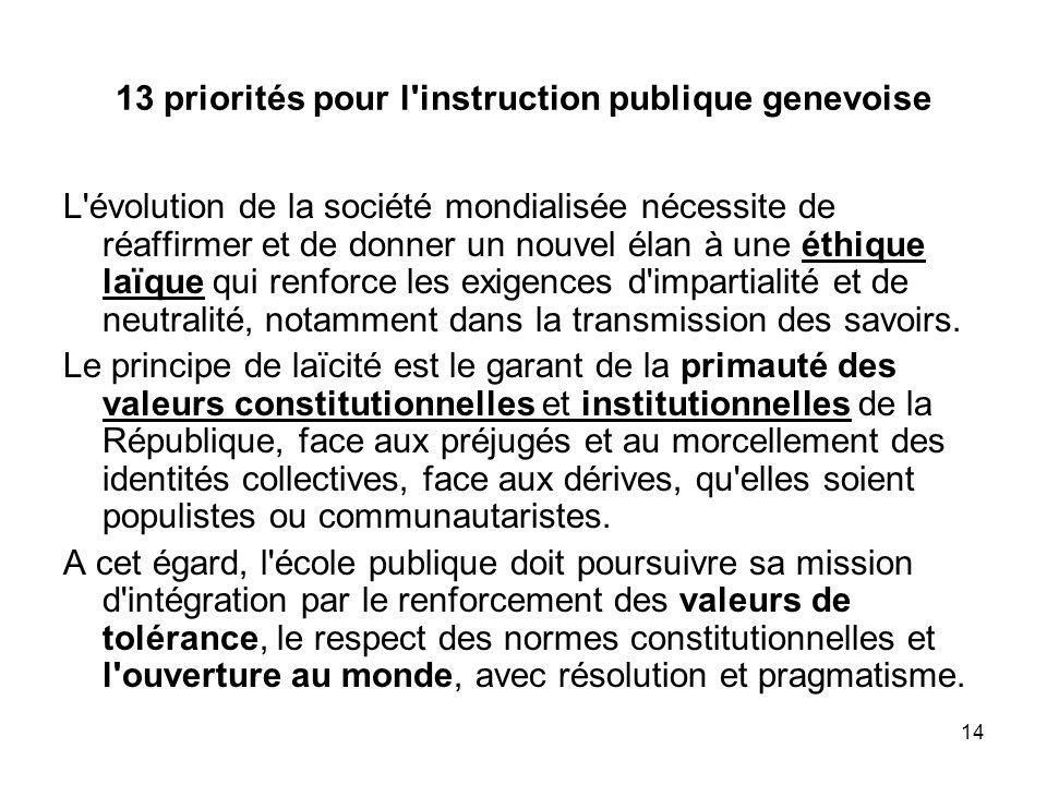 13 priorités pour l instruction publique genevoise
