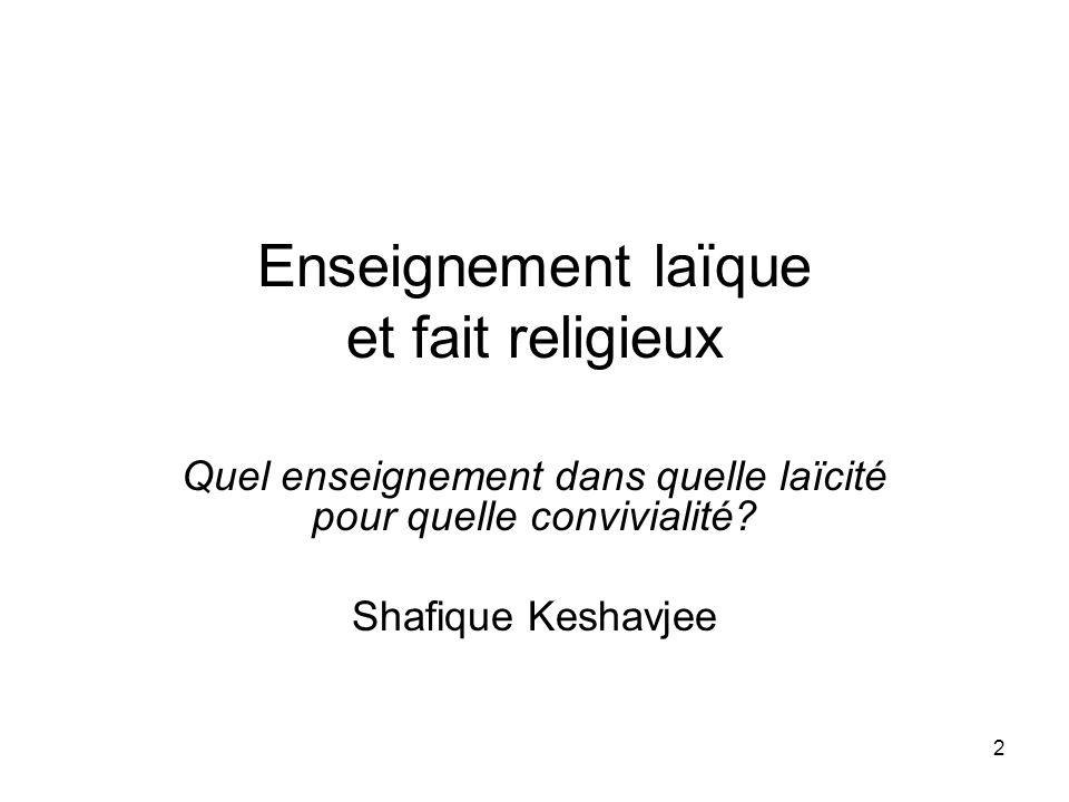 Enseignement laïque et fait religieux