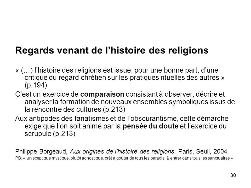 Regards venant de l'histoire des religions
