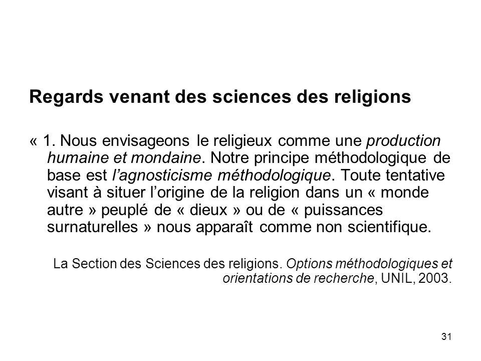 Regards venant des sciences des religions