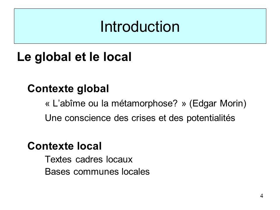 Introduction Le global et le local Contexte global
