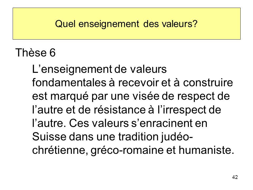 Quel enseignement des valeurs