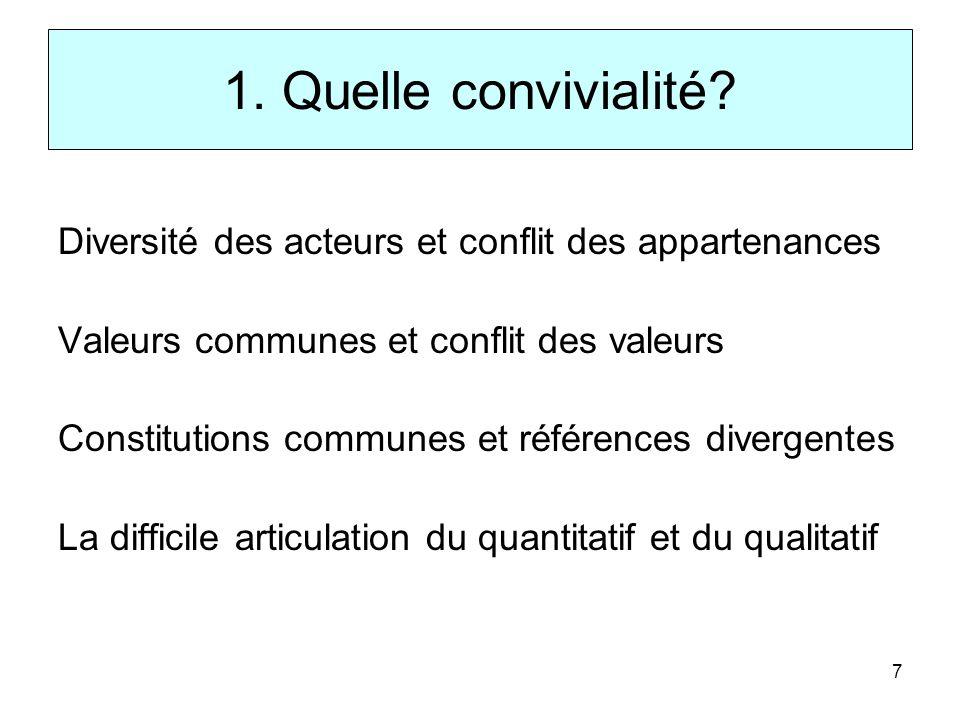 1. Quelle convivialité Diversité des acteurs et conflit des appartenances. Valeurs communes et conflit des valeurs.