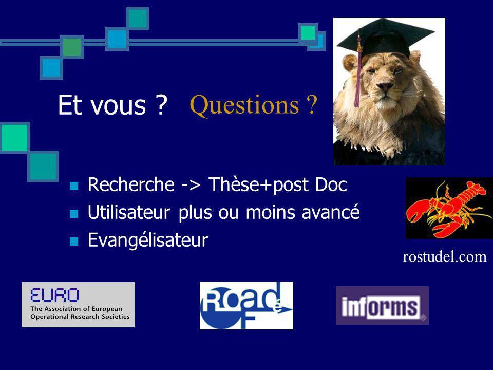 Et vous Questions Recherche -> Thèse+post Doc