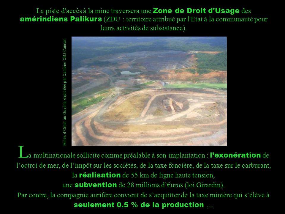 La piste d accès à la mine traversera une Zone de Droit d Usage des amérindiens Palikurs (ZDU : territoire attribué par l Etat à la communauté pour leurs activités de subsistance).