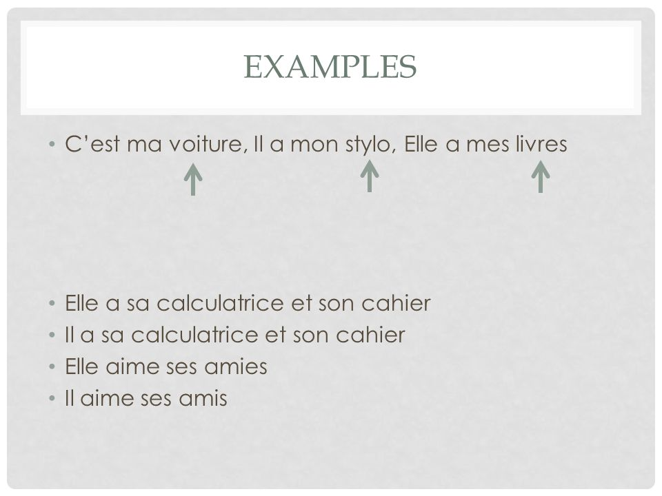 Examples C'est ma voiture, Il a mon stylo, Elle a mes livres