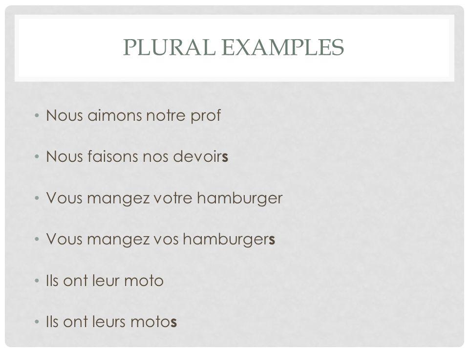 Plural examples Nous aimons notre prof Nous faisons nos devoirs