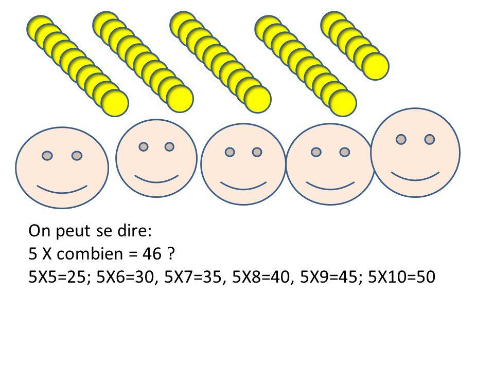 On peut se dire: 5 X combien = 46 5X5=25; 5X6=30, 5X7=35, 5X8=40, 5X9=45; 5X10=50
