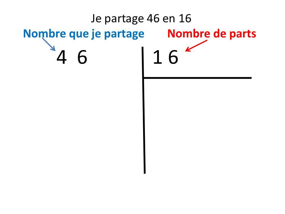 Je partage 46 en 16 Nombre que je partage Nombre de parts 4 6 1 6