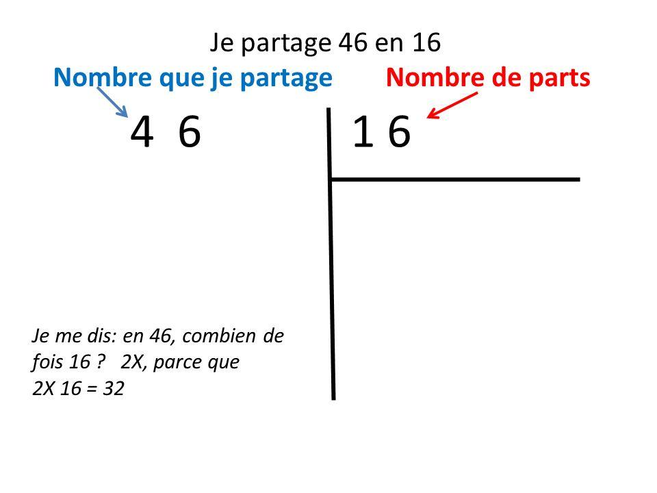4 6 1 6 Je partage 46 en 16 Nombre que je partage Nombre de parts