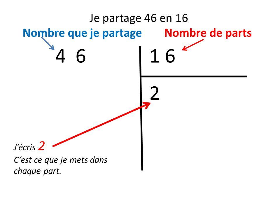 4 6 1 6 2 Je partage 46 en 16 Nombre que je partage Nombre de parts