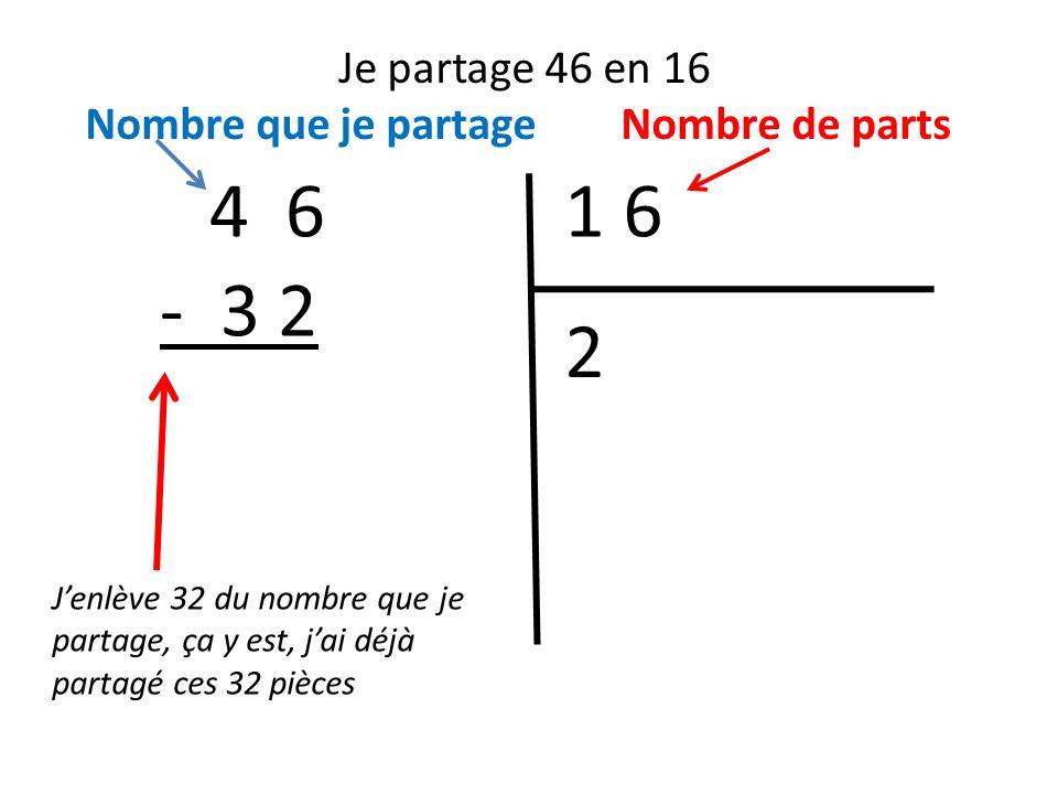 Je partage 46 en 16 Nombre que je partage Nombre de parts. 4 6. 1 6. - 3 2. 2.