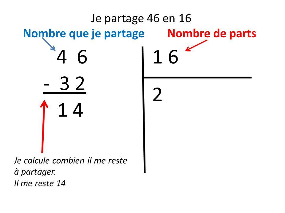 Je partage 46 en 16 Nombre que je partage Nombre de parts. 4 6. 1 6. - 3 2. 2. 1 4. Je calcule combien il me reste à partager.