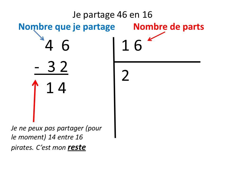 Je partage 46 en 16 Nombre que je partage Nombre de parts. 4 6. 1 6. - 3 2. 2. 1 4.