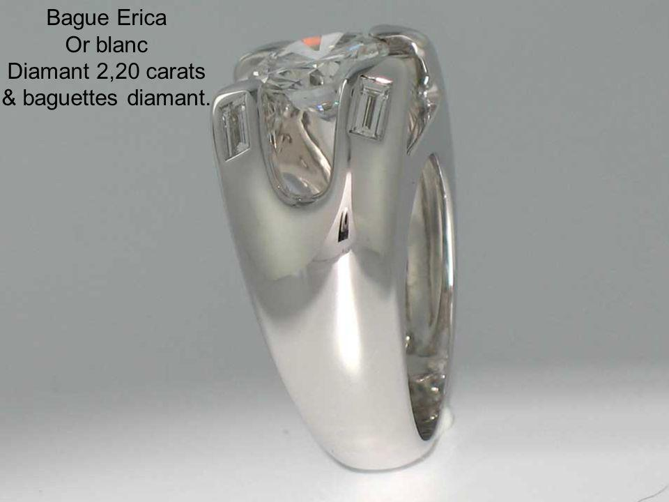 Bague Erica Or blanc Diamant 2,20 carats & baguettes diamant.