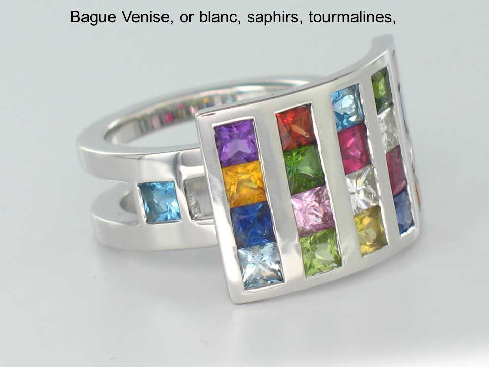 Bague Venise, or blanc, saphirs, tourmalines,