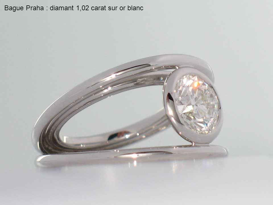 Bague Praha : diamant 1,02 carat sur or blanc