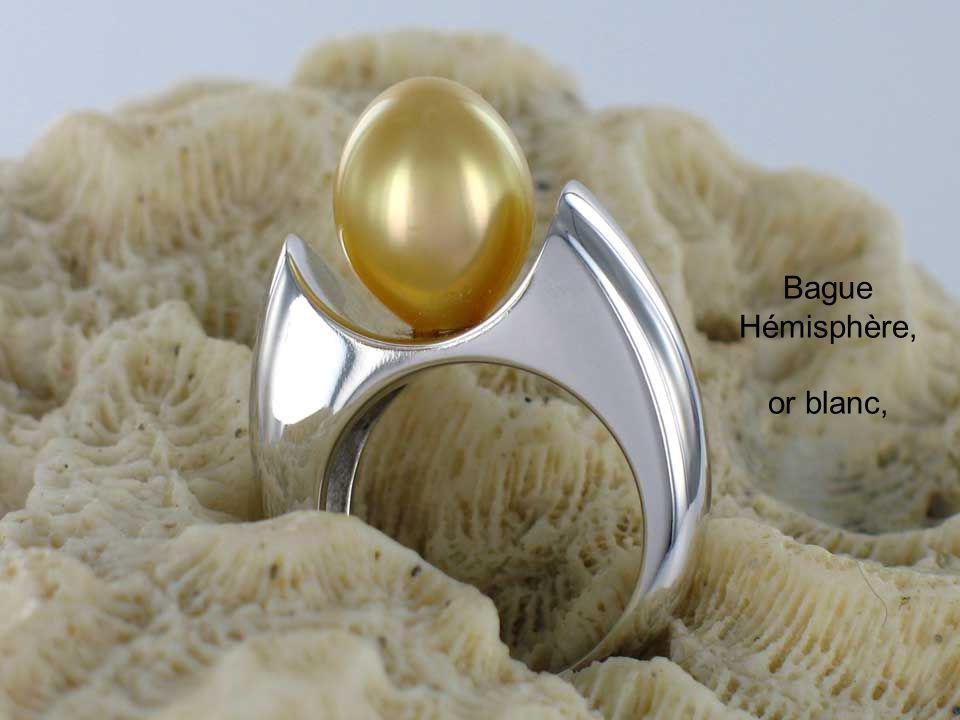 Bague Hémisphère, or blanc,