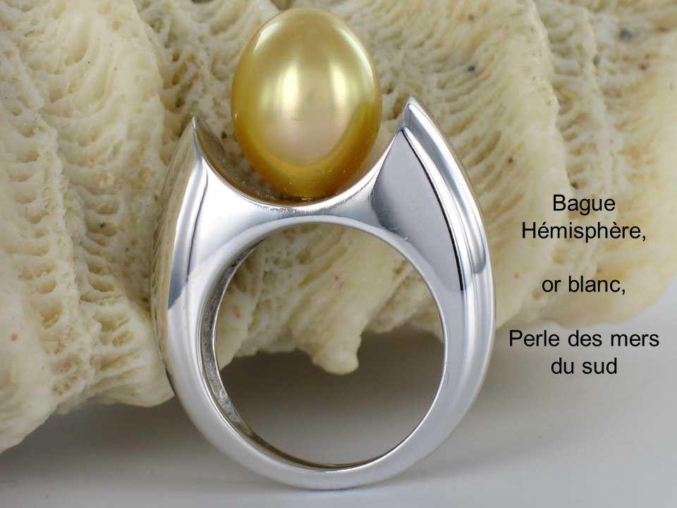 Bague Hémisphère, or blanc, Perle des mers du sud
