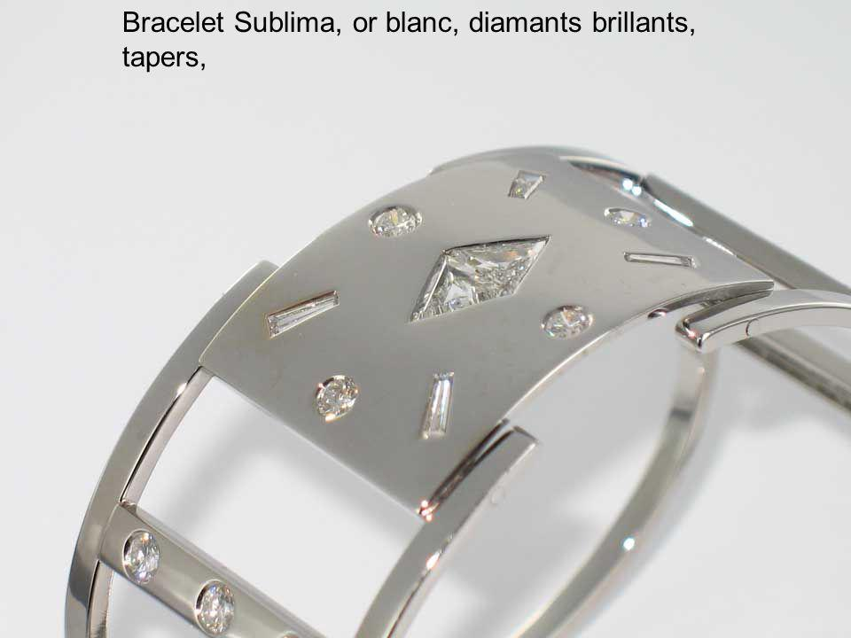 Bracelet Sublima, or blanc, diamants brillants, tapers,