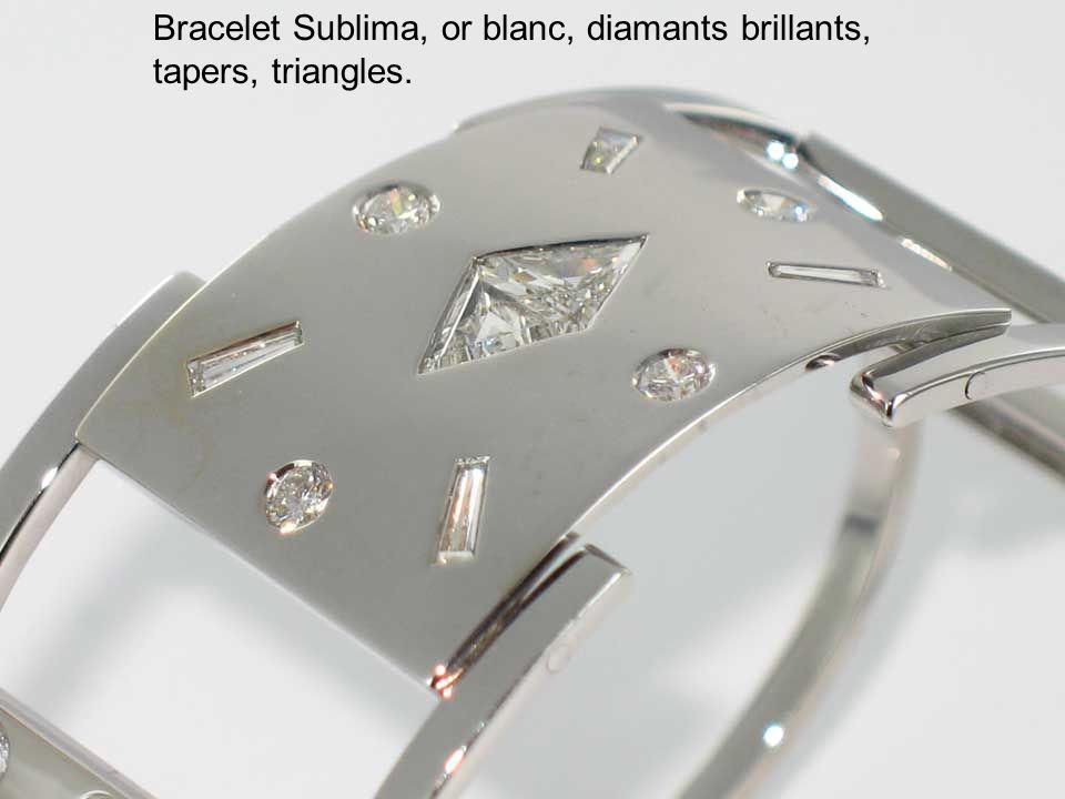 Bracelet Sublima, or blanc, diamants brillants, tapers, triangles.