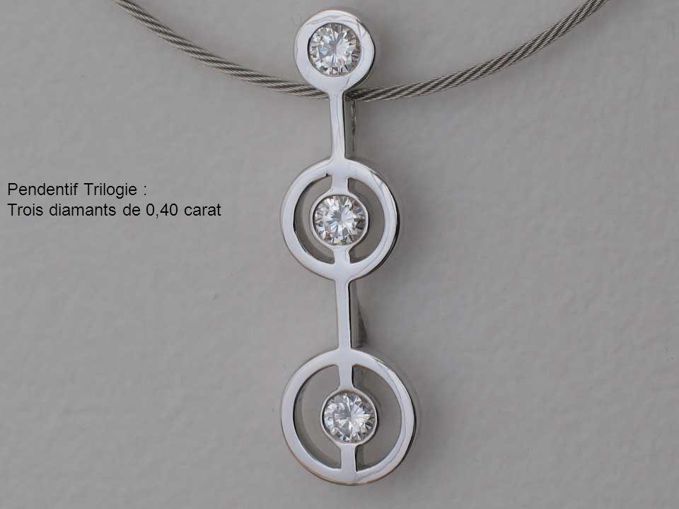 Pendentif Trilogie : Trois diamants de 0,40 carat