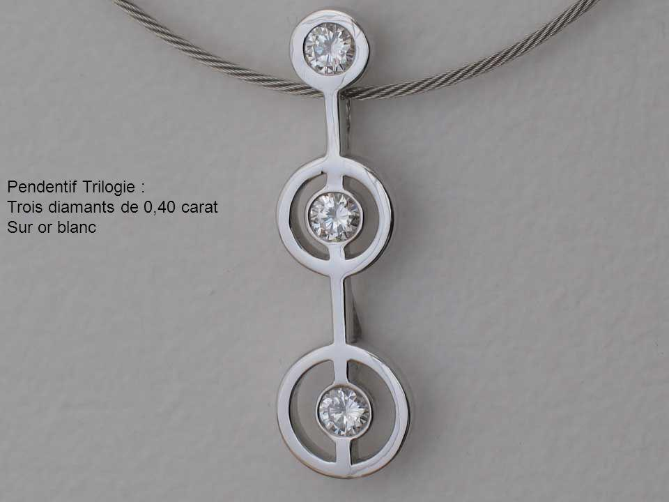 Pendentif Trilogie : Trois diamants de 0,40 carat Sur or blanc