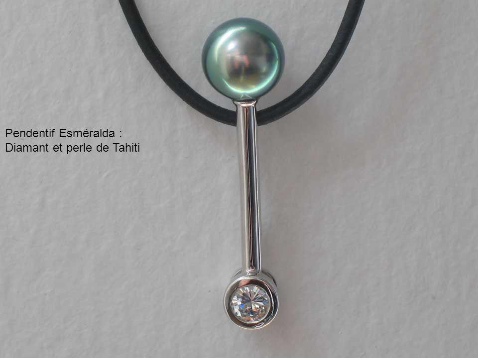 Pendentif Esméralda : Diamant et perle de Tahiti