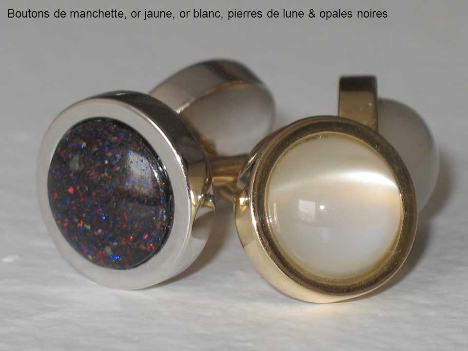 Boutons de manchette, or jaune, or blanc, pierres de lune & opales noires