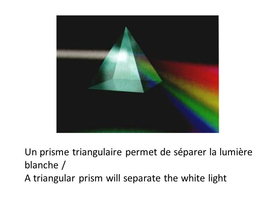 Un prisme triangulaire permet de séparer la lumière blanche /