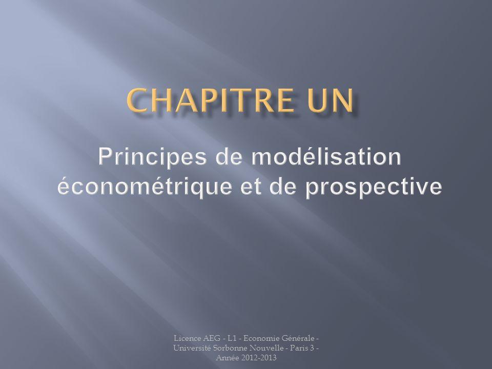 Principes de modélisation économétrique et de prospective
