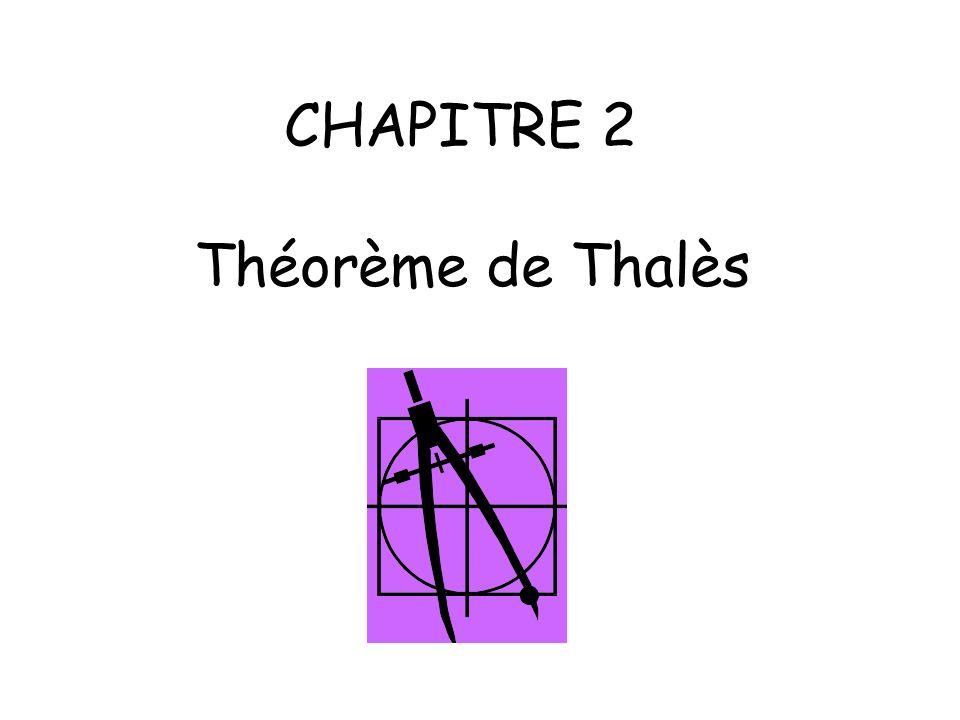 CHAPITRE 2 Théorème de Thalès