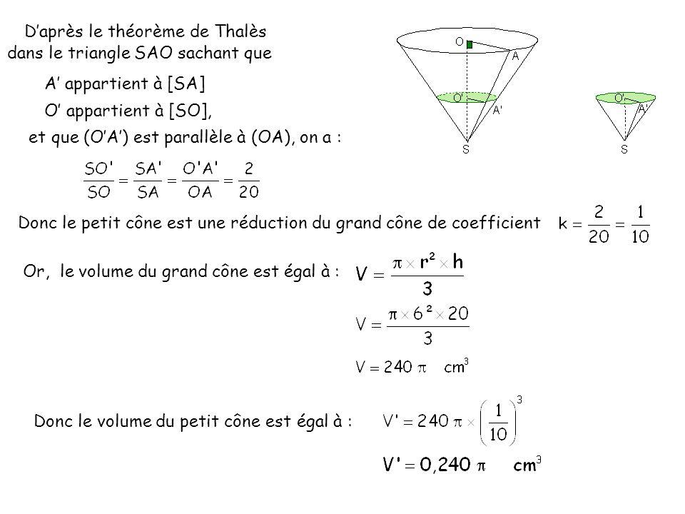 D'après le théorème de Thalès