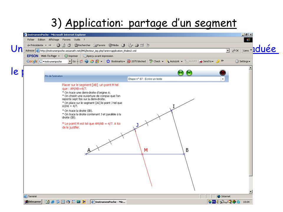 3) Application: partage d'un segment