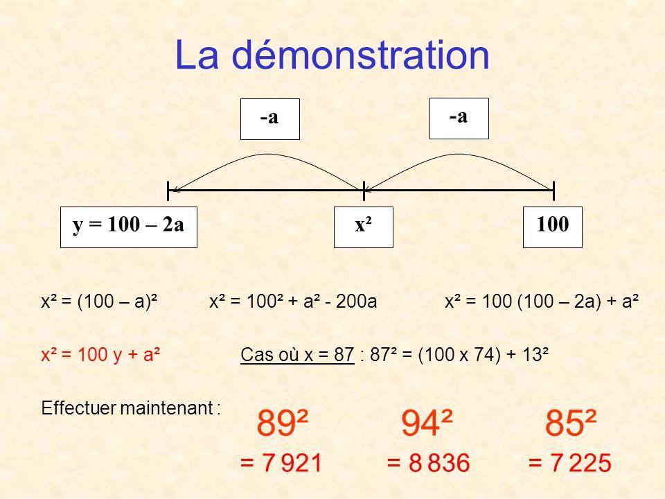 La démonstration 89² 94² 85² = 7 921 = 8 836 = 7 225 100 x²