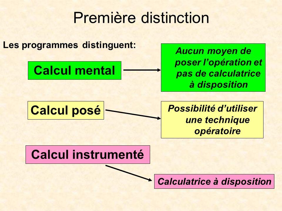 Première distinction Calcul mental Calcul posé Calcul instrumenté