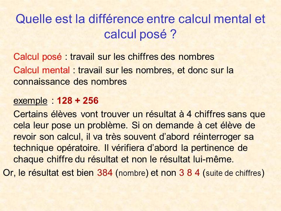 Quelle est la différence entre calcul mental et calcul posé