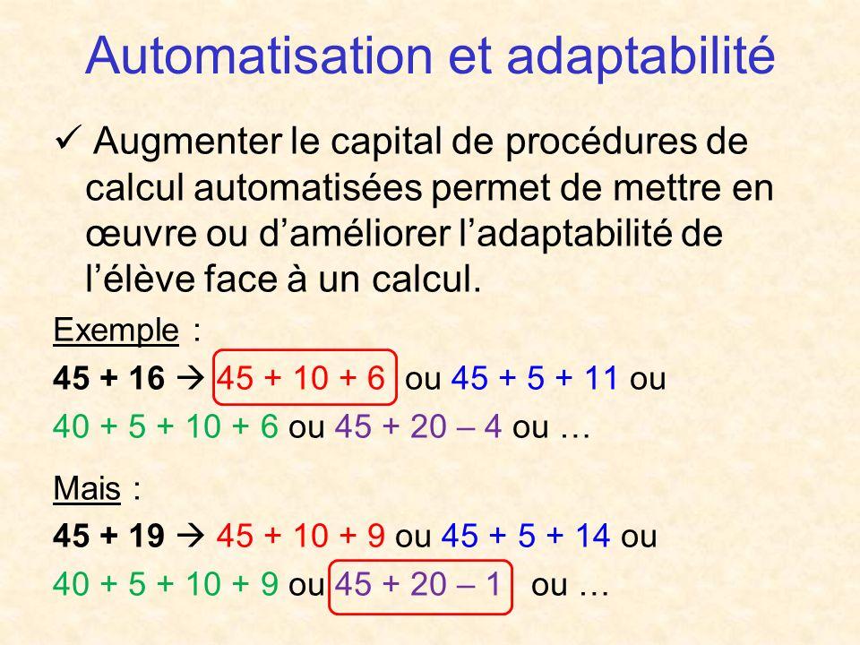 Automatisation et adaptabilité