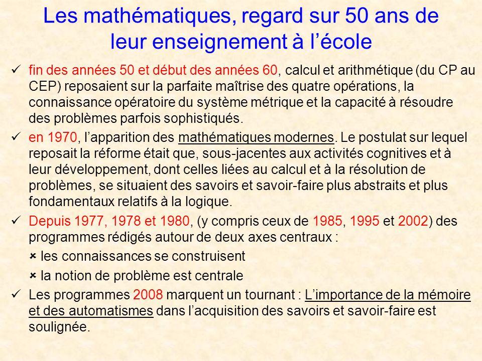 Les mathématiques, regard sur 50 ans de leur enseignement à l'école