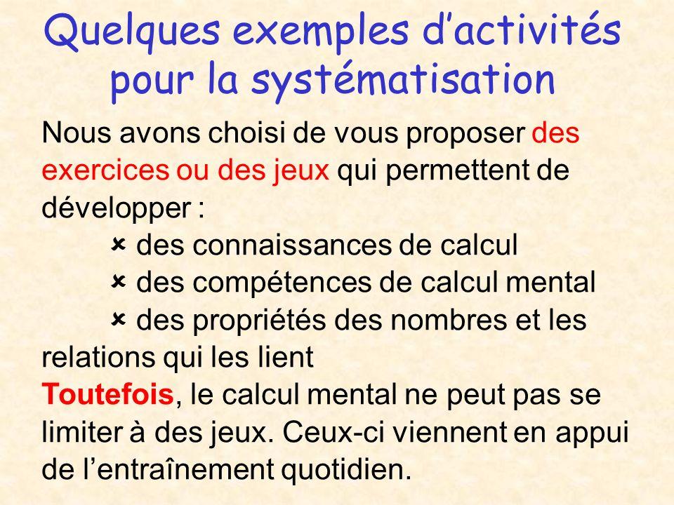 Quelques exemples d'activités pour la systématisation