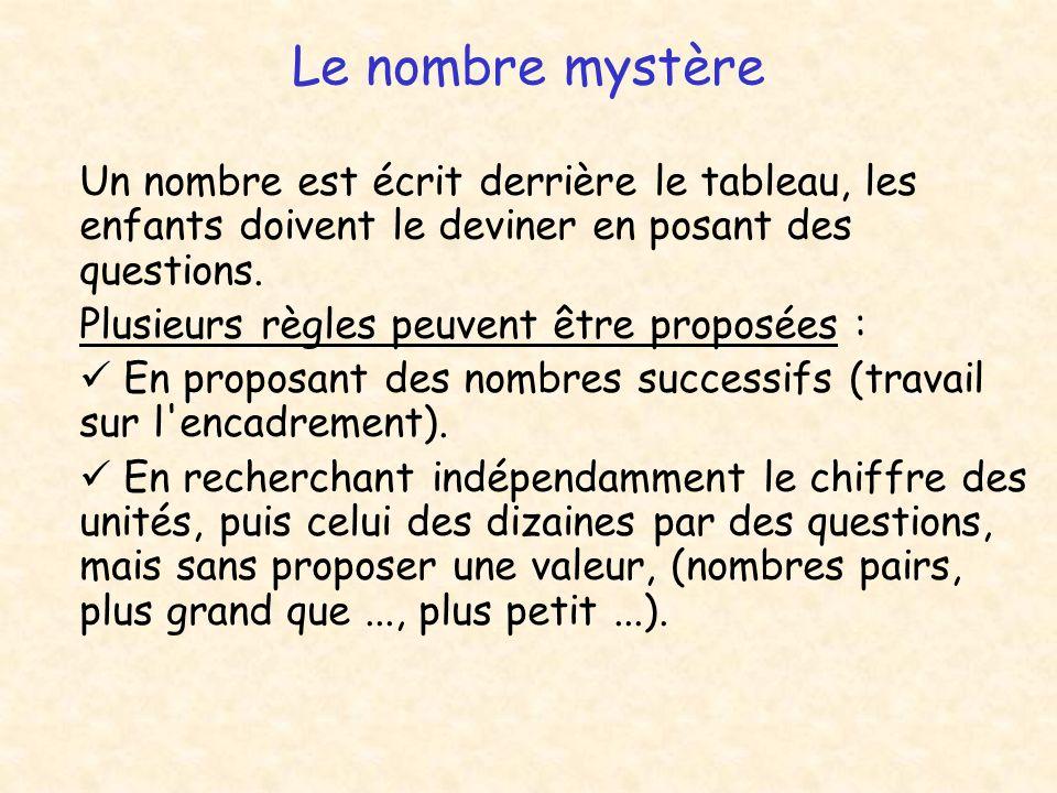 Le nombre mystère Plusieurs règles peuvent être proposées :