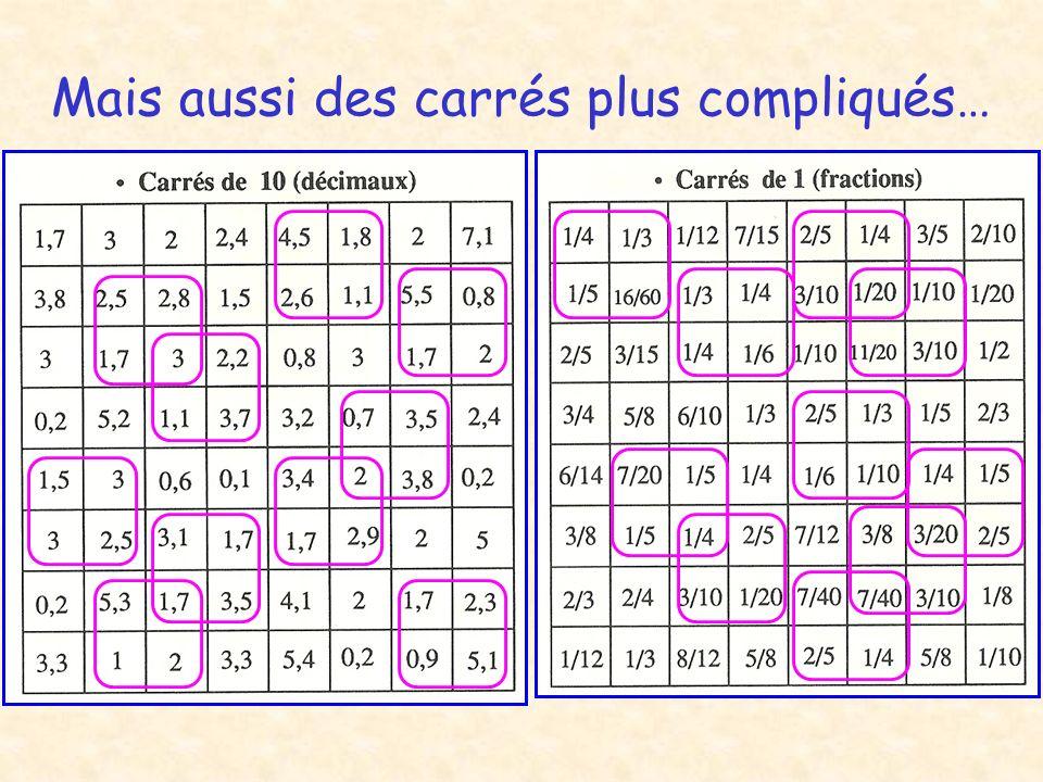 Mais aussi des carrés plus compliqués…