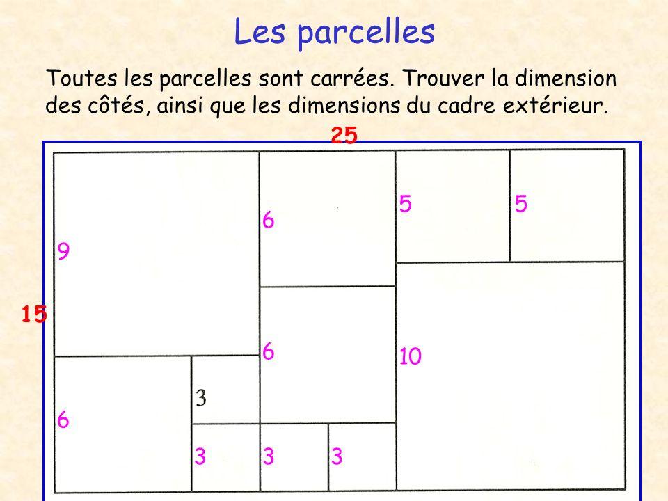 Les parcelles Toutes les parcelles sont carrées. Trouver la dimension des côtés, ainsi que les dimensions du cadre extérieur.