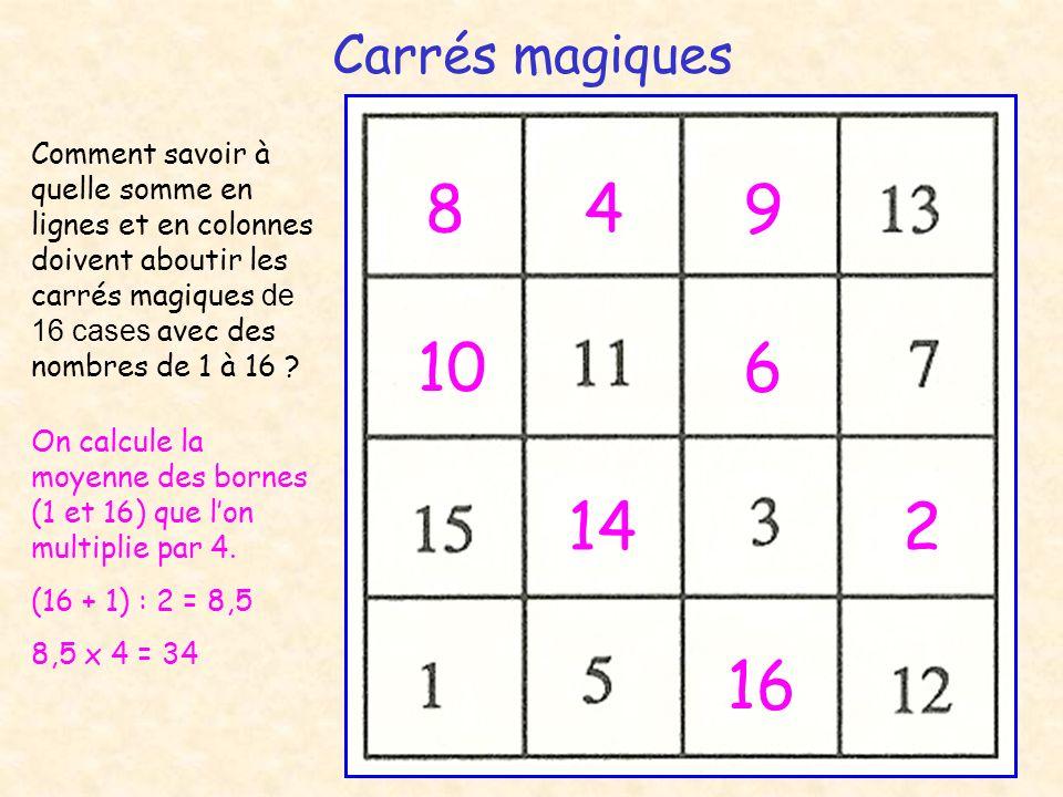 Carrés magiques Comment savoir à quelle somme en lignes et en colonnes doivent aboutir les carrés magiques de 16 cases avec des nombres de 1 à 16