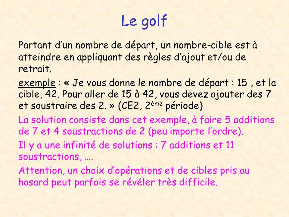 Le golf Partant d'un nombre de départ, un nombre-cible est à atteindre en appliquant des règles d'ajout et/ou de retrait.