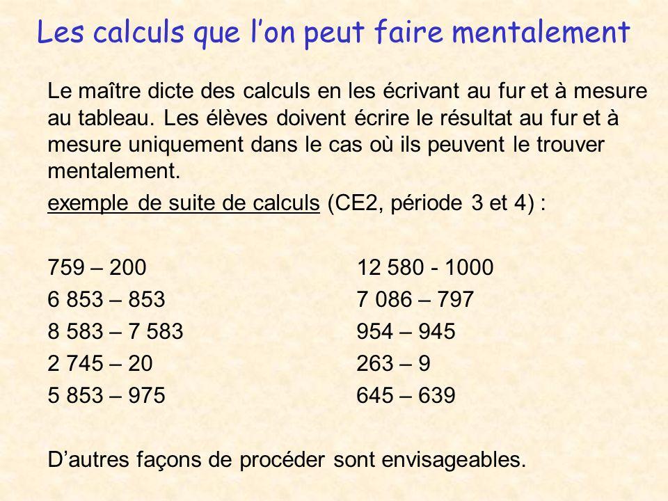 Les calculs que l'on peut faire mentalement